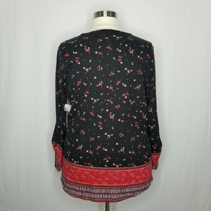 Style & Co Tops - Style & Co Red Black Floral Print Roll-Tab Top